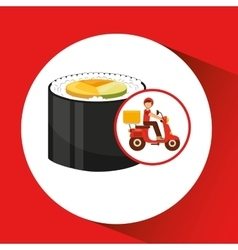 delivery boy ride motorcycle japanese cuisine vector image