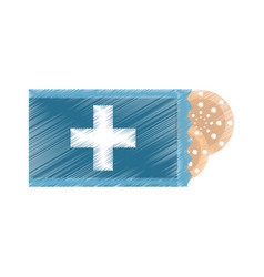 drawing package with medical band aid vector image