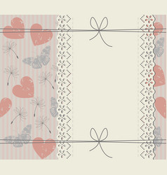 Elegant cover with lace frame dandelions vector