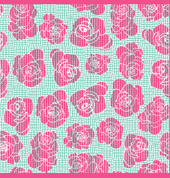 Embroidery inspired striped floral seamless vector