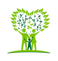 Family parents and kid green ecology logo vector