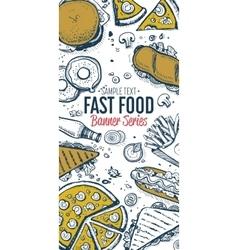 Fast food doodles vertical banner menu vector image