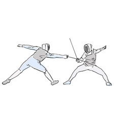 Fencers at tournament colorful drawing vector