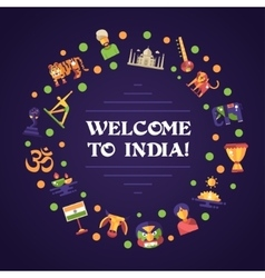 Flat design India travel banner with famous Indian vector