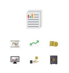 flat icon gain set of diagram strongbox document vector image