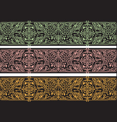 floral seamless borders collection vector image