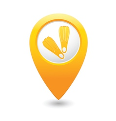 Foot fins symbol on yellow map pointer vector