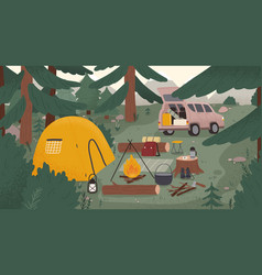 Forest touristic camp with tent bonfire firewood vector