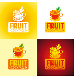 Fresh fruit drink bar logo icons flat vector