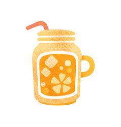 fresh orange juice detox water in glass with vector image