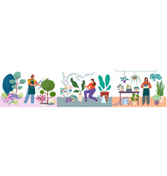 gardening persons caring for plants vector image