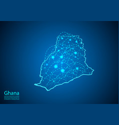 Ghana map with nodes linked by lines concept of vector