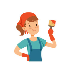 Girl painter character young professional paint vector