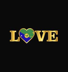 Golden love typography christmas island flag vector
