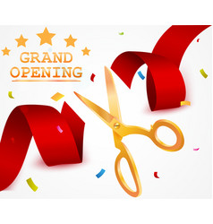 Grand opening background with ribbon and confetti vector