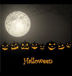 Halloween background with pumpkins and spiderweb vector