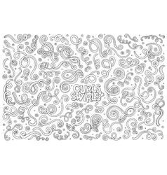 hand drawn Doodle cartoon set of curls and vector image