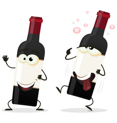 happy and drunk red wine bottle character vector image