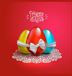 happy easter card with lace bow eggs vector image