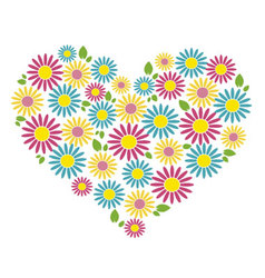 heart of colored flowers vector image
