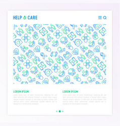 Help and care concept with thin line icons vector