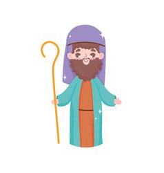 Joseph character stars manger nativity merry vector
