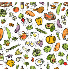 ketogenic food seamless pattern sketch vector image