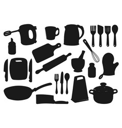 Kitchen utensil appliance isolated silhouettes vector