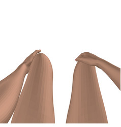 legs and hands on the girl lap polygonal vector image