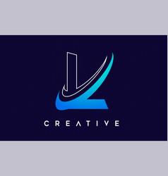 Letter l logo l letter design with blue swash vector