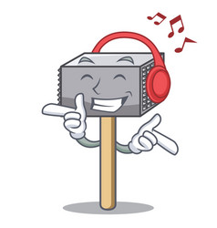 Listening music wooden meat hammer cartoon for vector