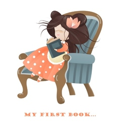 Little girl reading a book vector