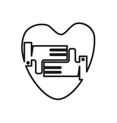 love hand heart commitment teamwork together vector image