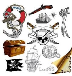 marine theme icons set vector image