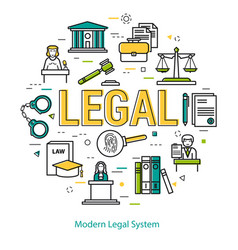 Modern legal system - round line concept vector