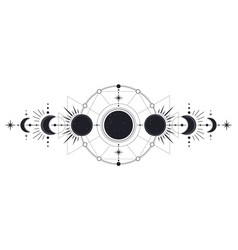 moon phases mysterious moonlight activity stages vector image