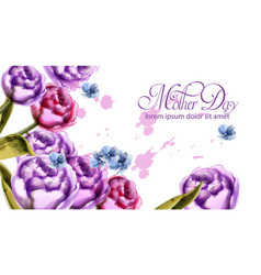 mother day bouquet flowers card watercolor spring vector image
