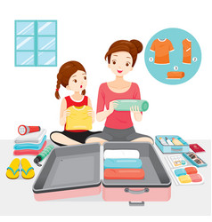 Mother teaching her daughter to prepare clothes vector