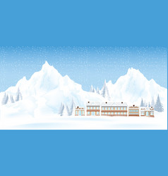mountains ski resort with house and pine in the vector image