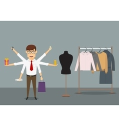 Multitasking businessman shopping in clothes store vector image