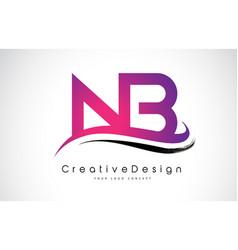 Nb n b letter logo design creative icon modern vector