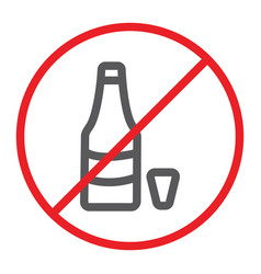 no alcohol line icon prohibited and ban no drink vector image
