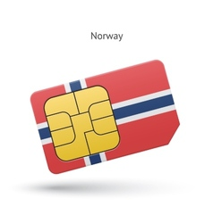 Norway mobile phone sim card with flag vector