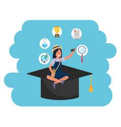 Online education millennial student academic hat vector