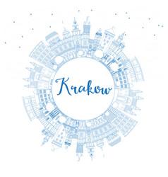 Outline krakow poland city skyline with blue vector