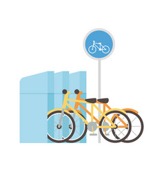 Parking bicycles transport alternative icon vector