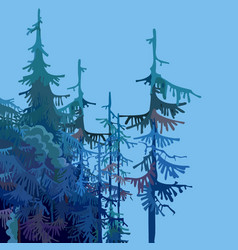 part of a cartoon forest with fir trees vector image