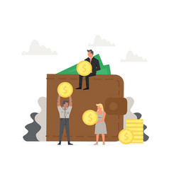 People store and collect money invest big wallet vector