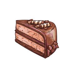 piece layered chocolate cake bakery food vector image