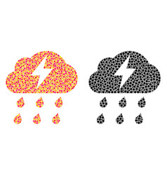 Pixel thunderstorm mosaic icons vector